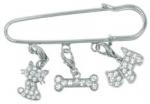 Anstecknadel mit 3 Ringösen für 12 mm Karabinerbuchstaben und -motive