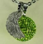 GLITTERBALL-KLANGKUGELSET grün inkl. Kette 80cm & Flügelanhänger