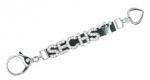 Handtaschenschmuck - Karabinerstrip SOLO mit strassbesetztem Karabiner zur individuellen Bestückung mit bis zu 6 Strassbuchstaben/-motive, schwarz